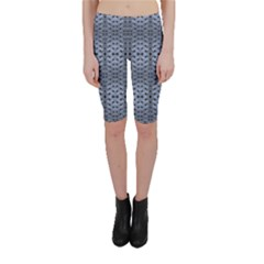 Futuristic Grid Pattern Design Print in Blue Tones Cropped Leggings