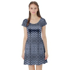 Futuristic Grid Pattern Design Print in Blue Tones Short Sleeved Skater Dress