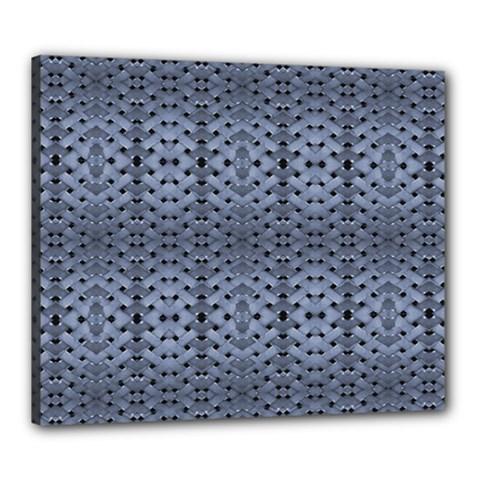Futuristic Geometric Pattern Design Print In Blue Tones Canvas 24  X 20  (framed)