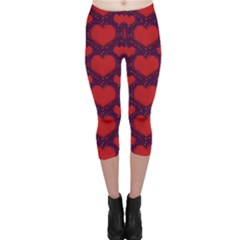 Galaxy Hearts Grunge Style Pattern Capri Leggings