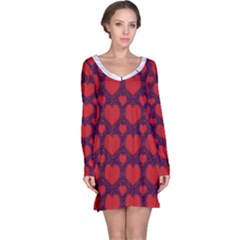 Galaxy Hearts Grunge Style Pattern Long Sleeve Nightdress
