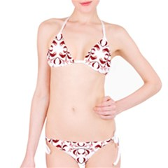 Floral Print Modern Pattern In Red And White Tones Bikini
