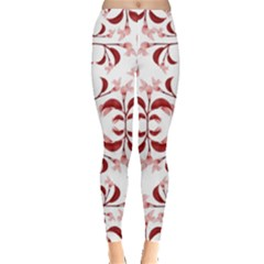 Floral Print Modern Pattern in Red and White Tones Leggings