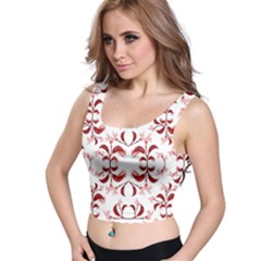 Floral Print Modern Pattern in Red and White Tones Crop Top