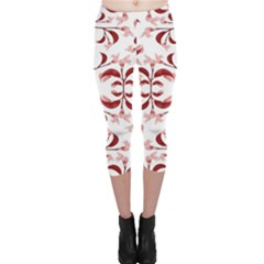 Floral Print Modern Pattern in Red and White Tones Capri Leggings