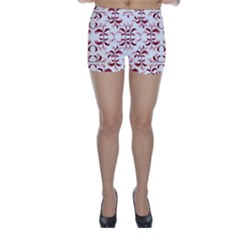 Floral Print Modern Pattern in Red and White Tones Skinny Shorts