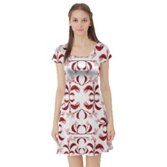 Floral Print Modern Pattern In Red And White Tones Short Sleeved Skater Dress