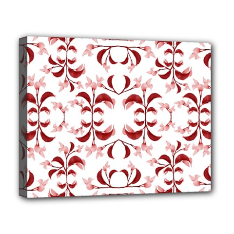 Floral Print Modern Pattern In Red And White Tones Deluxe Canvas 20  X 16  (framed)