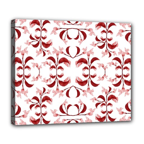 Floral Print Modern Pattern In Red And White Tones Deluxe Canvas 24  X 20  (framed)