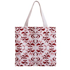 Floral Print Modern Pattern in Red and White Tones Grocery Tote Bag
