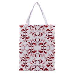 Floral Print Modern Pattern In Red And White Tones Classic Tote Bag