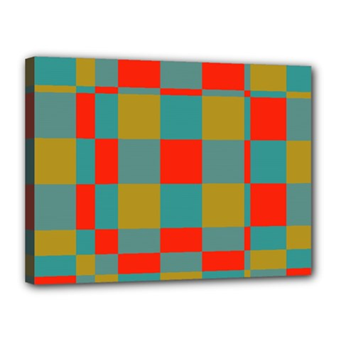 Squares In Retro Colors Canvas 16  X 12  (stretched)