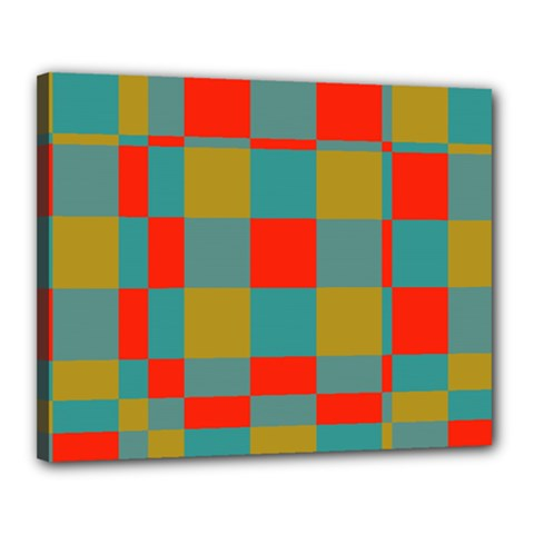 Squares In Retro Colors Canvas 20  X 16  (stretched)