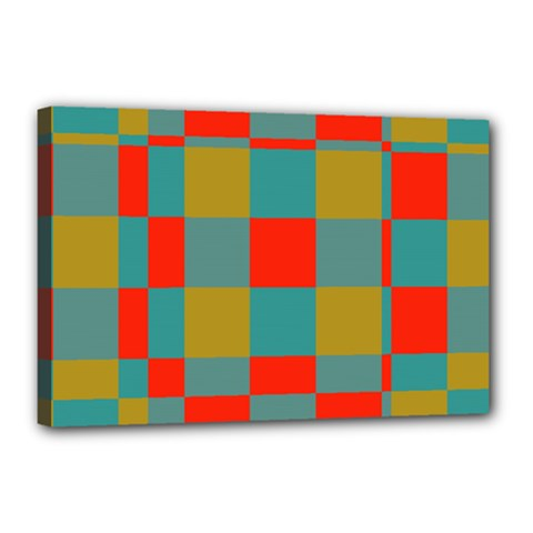 Squares in retro colors Canvas 18  x 12  (Stretched)