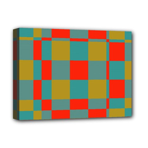 Squares in retro colors Deluxe Canvas 16  x 12  (Stretched)