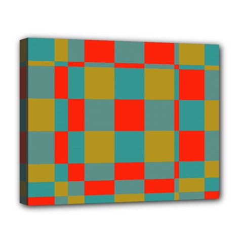 Squares In Retro Colors Deluxe Canvas 20  X 16  (stretched)