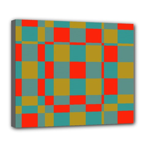 Squares in retro colors Deluxe Canvas 24  x 20  (Stretched)
