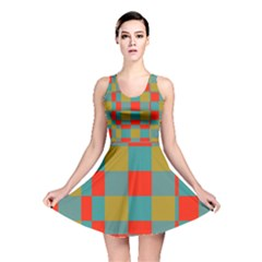 Squares in retro colors Reversible Skater Dress