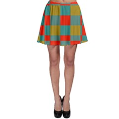 Squares in retro colors Skater Skirt