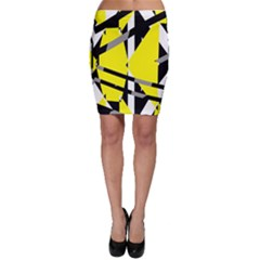 Yellow, black and white pieces abstract design Bodycon Skirt