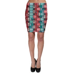 Red And Green Squares Bodycon Skirt