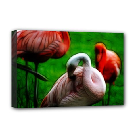 3pinkflamingos Deluxe Canvas 18  X 12  (framed)