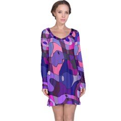Blue purple chaos Long Sleeve Nightdress