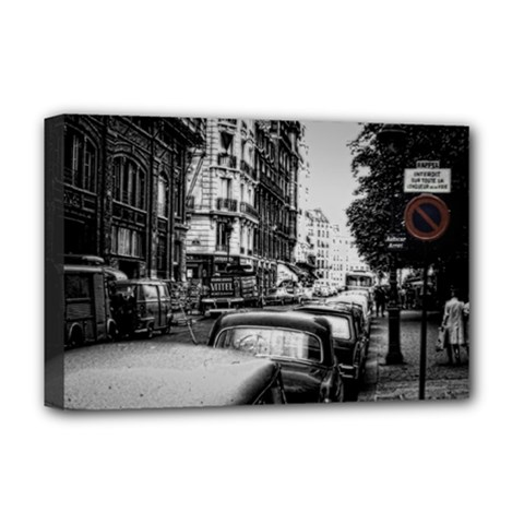 Vintage Paris Street Deluxe Canvas 18  X 12  (framed)