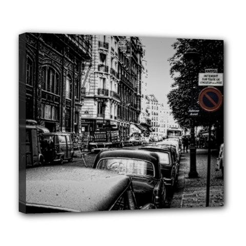 Vintage Paris Street Deluxe Canvas 24  X 20  (framed)