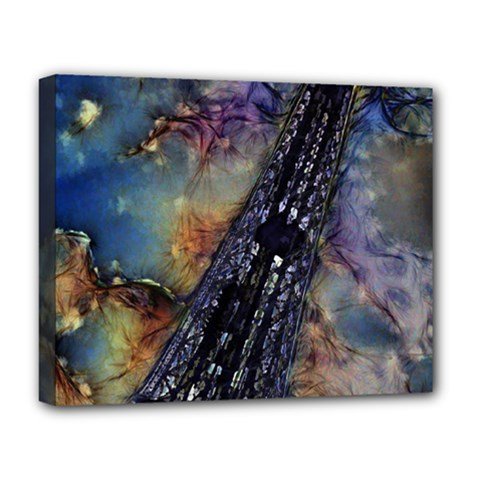 Vintage Eiffel Tower Abstract Deluxe Canvas 20  X 16  (framed)