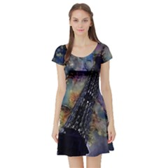 Vintage Eiffel Tower Abstract Short Sleeved Skater Dress