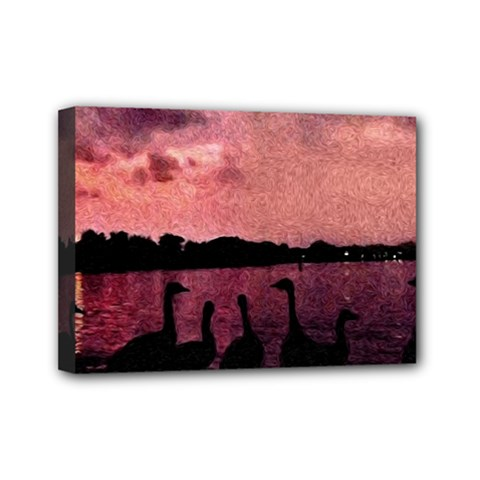 7 Geese At Sunset Mini Canvas 7  X 5  (framed)