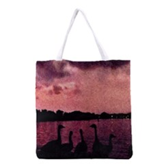 7 Geese At Sunset Grocery Tote Bag