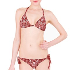 Flowers Pattern Collage in Coral an White Colors Bikini