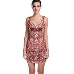 Flowers Pattern Collage In Coral An White Colors Bodycon Dress