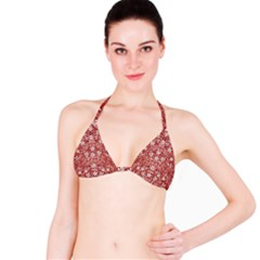 Flowers Pattern Collage in Coral an White Colors Bikini Top