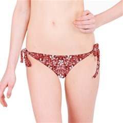 Flowers Pattern Collage in Coral an White Colors Bikini Bottom