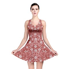 Flowers Pattern Collage in Coral an White Colors Reversible Skater Dress