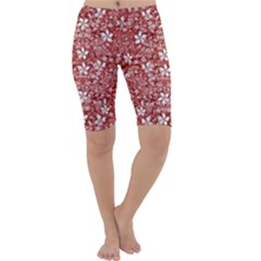 Flowers Pattern Collage in Coral an White Colors Cropped Leggings