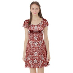Flowers Pattern Collage in Coral an White Colors Short Sleeved Skater Dress