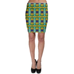 Different Shapes Pattern Bodycon Skirt
