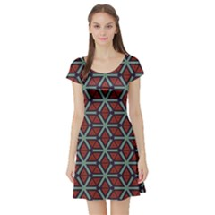Cubes Pattern Abstract Design Short Sleeved Skater Dress