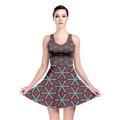 Cubes pattern abstract design Reversible Skater Dress