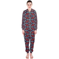 Cubes pattern abstract design Hooded OnePiece Jumpsuit