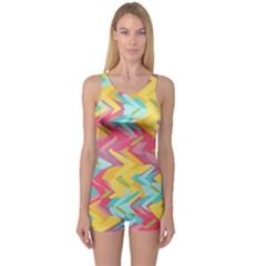 Paint Strokes Abstract Design Women s Boyleg Swimsuit