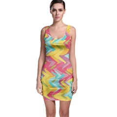 Paint strokes abstract design Bodycon Dress