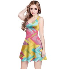 Paint strokes abstract design Sleeveless Dress