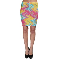 Paint strokes abstract design Bodycon Skirt