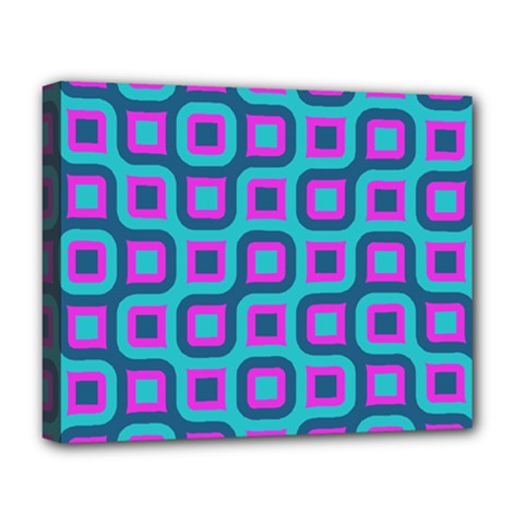 Blue Purple Squares Pattern Deluxe Canvas 20  X 16  (stretched)
