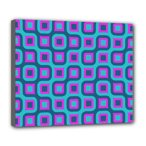 Blue purple squares pattern Deluxe Canvas 24  x 20  (Stretched)